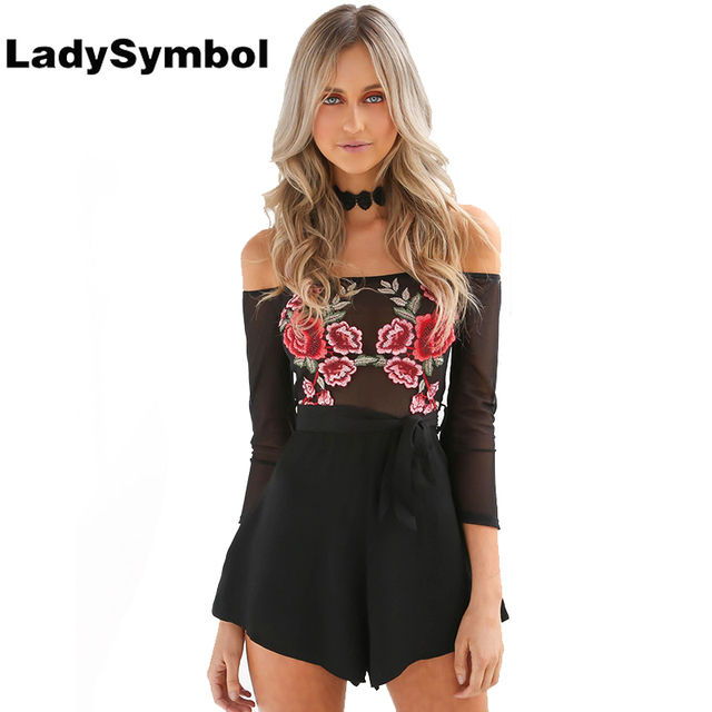 9c0ea6662b LadySymbol Floral Embroidery Off Shoulder Summer Rompers Jumpsuit Women  Casual Long Sleeve Flower Party Sexy Beach