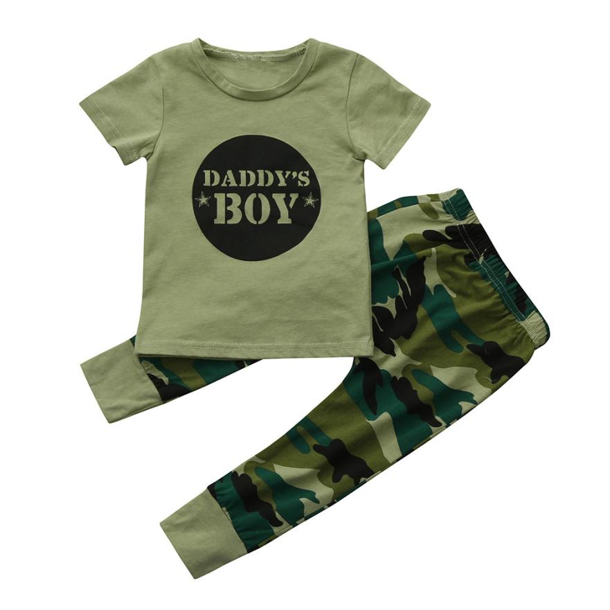Boys Girls Kids Children Clothes Clothing2Pcs Newborn Toddler Baby Boys Letter Tops Camouflage Pants Outfits Set Clothes oct boys girls kids children clothes clothing2pcs toddler kids baby girls outfits lolly t shirt tops short pants clothes set