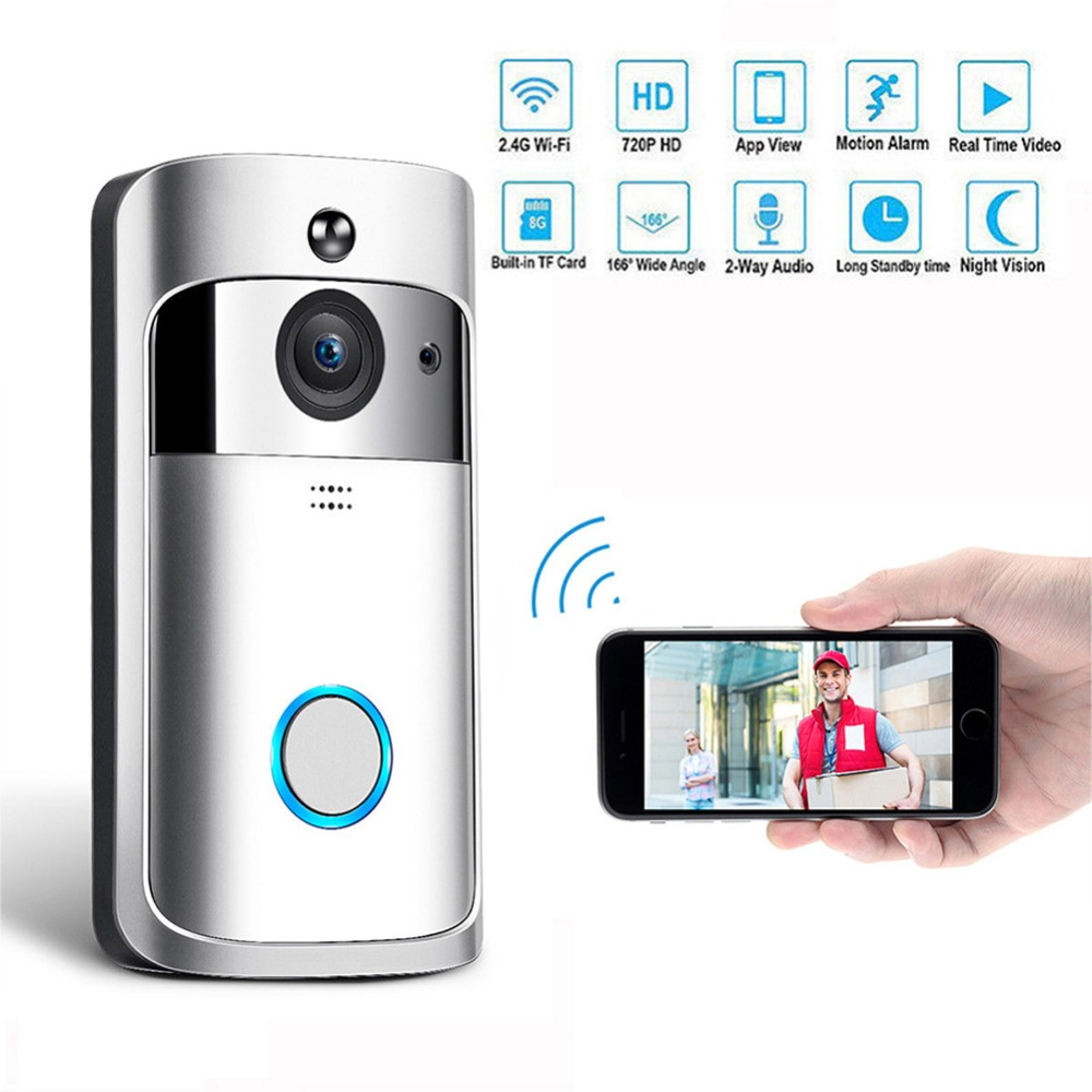 LED Porte Sans Fil De Bell Sonnette Batterie Alimenté 32 Chansons Tune 1 Télécommande 1 Sans Fil Home Security Intelligent Sonnette #288948