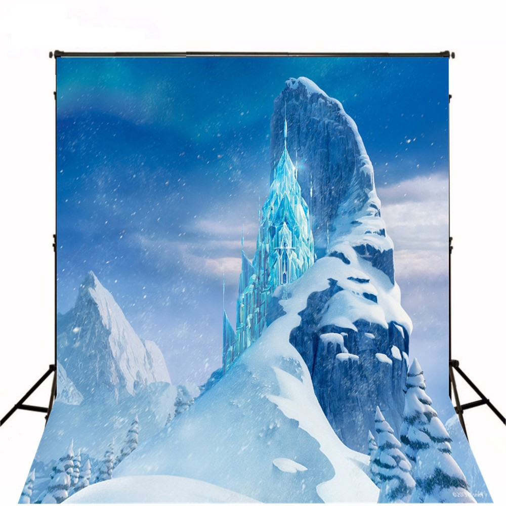 Frozen Ice Castle Mountain photo backdrop Vinyl cloth High quality Computer printed children kids wedding Backgrounds