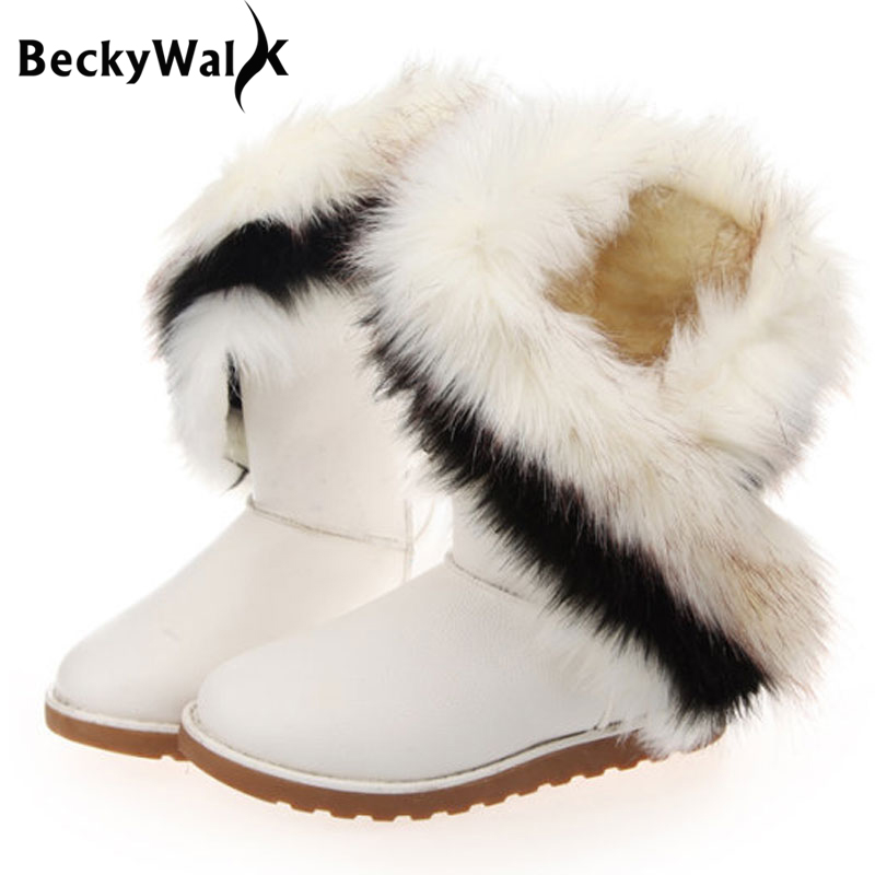Faux Fox Amp Rabbit Fur Snow Boots Women Winter Shoes PU Leather Waterproof Botas Warm Thicken