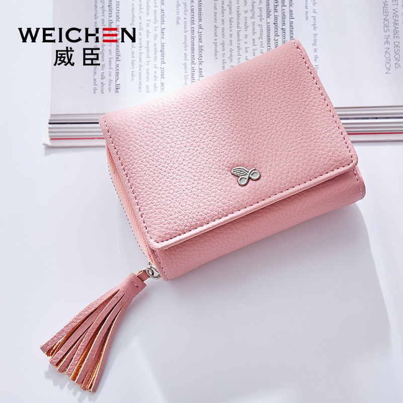 WEICHEN Tassels Zipper&Hasp Women Wallet For Coin Card Cash Invoice Fashion Lady Small Purse Short Solid Female Clutch Carteras 1