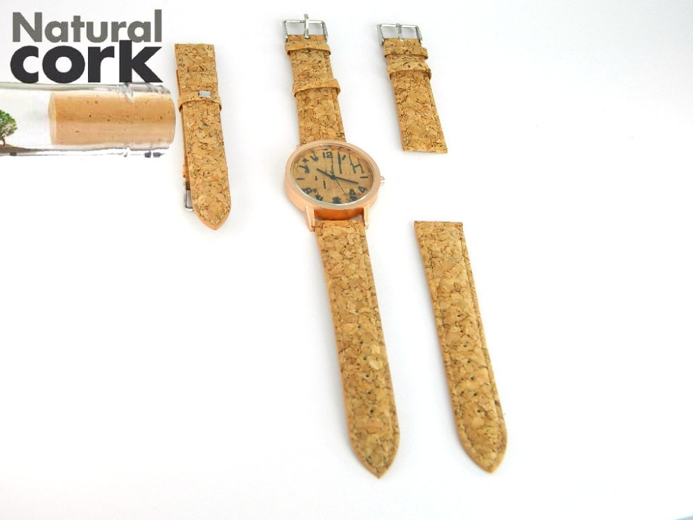 Natural cork watch strap rustic cork with PU leather handmade vegan high quality 946 natural cork watch strap brown cork with pu leather handmade vegan high quality e 001