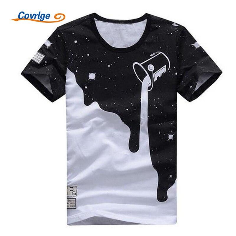 Covrlge 2018 Men Short Sleeve T-shirt Fashion Milk Printed O-neck Tshirt Mens Stars T Shirts Casual Male Brand Tops Tees MTS292