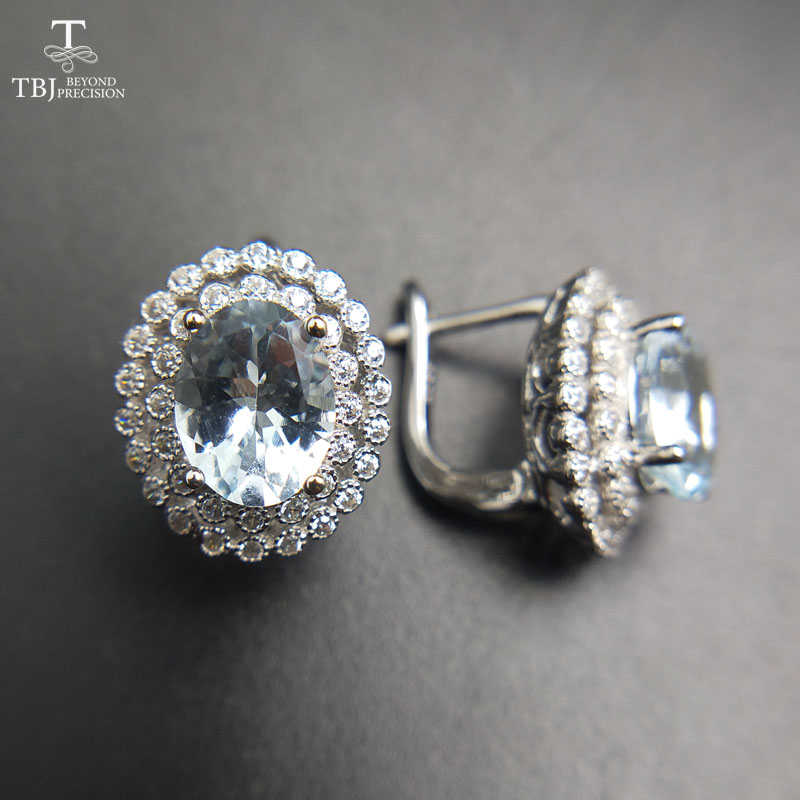TBJ 2017 Clasp earring with natural brazil aquamarine in 925 sterling silver jewelry natural gemstone earring
