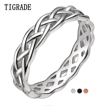 tigrade classic wedding band brushed men women titanium ring domed engagement jewelry 6 8mm simple unisex rings bague pour femme TIGRADE 4mm 925 Sterling Silver Ring Women Celtic Knot Eternity Wedding Band High Polish Classic Stackable Simple Rings Sale