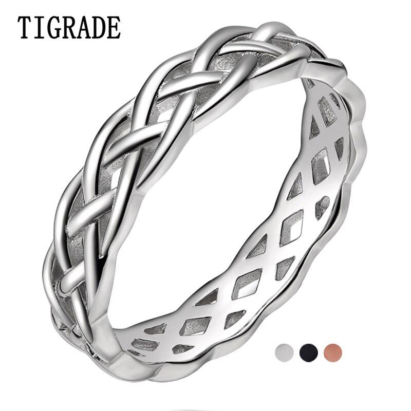 Tigrade 4mm 925 anel de prata esterlina feminino nó celta eternidade casamento banda alta polonês clássico empilhável simples anéis venda