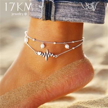 Fashion Anklets Bracelet For Ankle Vintage Silver Simulation Pearl Heart Beads Anklet