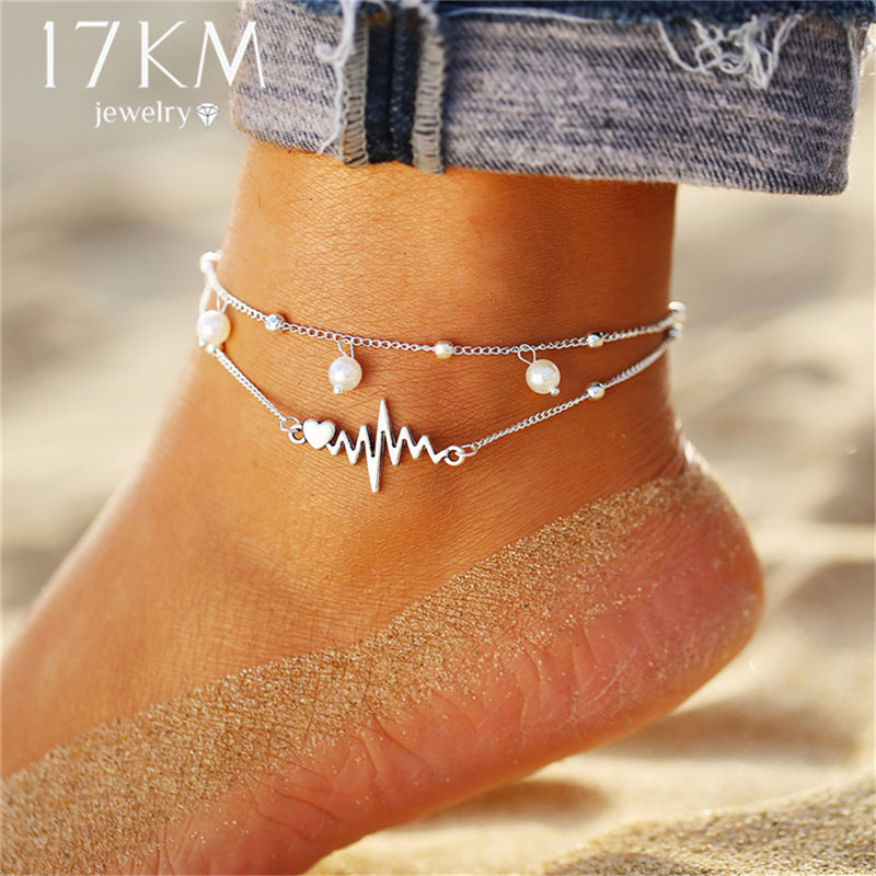 17KM 6 Design Fashion Anklets Bracelet For Ankle 2019 Vintage Simulation Pearl Heart Beads Anklet Woman Bohemian Jewelry