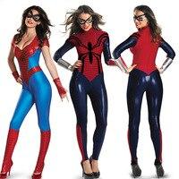 Halloween Women Spider man Spider Man Leotard Costume Super Hero Spider Woman Cosplay Superwomen Fancy Dress Outfits Jumpsuits