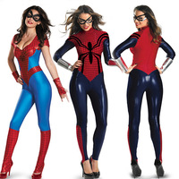 Halloween Women Spider man Spider Man Leotard Costume Super Hero Spider Woman Cosplay Superwomen Fancy Dress Outfits Jumpsuits