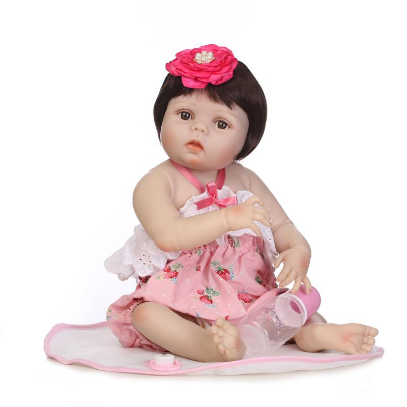 55cm New Face Full Silicone Reborn Girl Baby Doll Toys Newborn Princess Toddler Girls Babies Doll Child Shower Bathe Toy