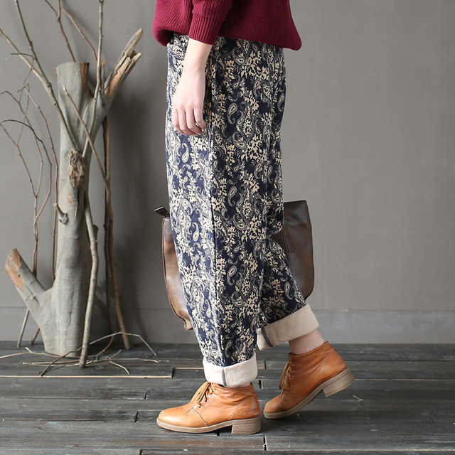Johnature Women Thick Warm Pants Elastic Waist 2019 Winter New Print Floral Vintage Trouser Pockets Casual Women Pants