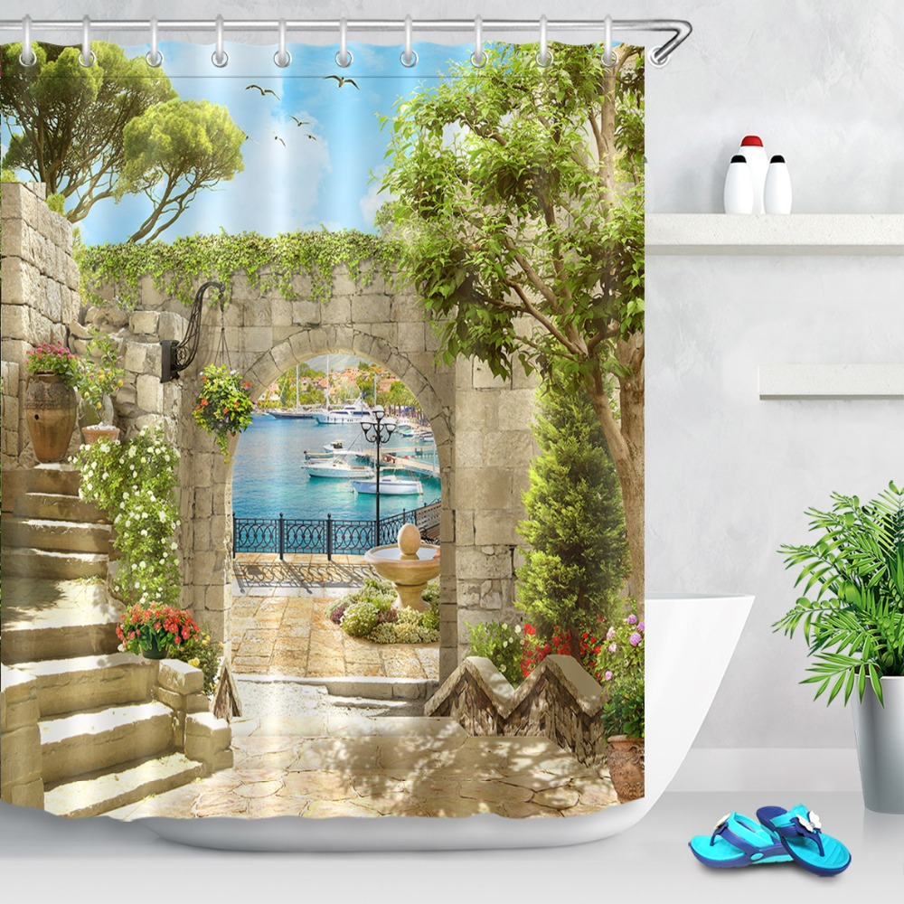 72Bathroom Waterproof Fabric Shower Curtain Polyester 12 Hooks Bath Accessory Sets Ancient Arch With View On The Sea And Piers