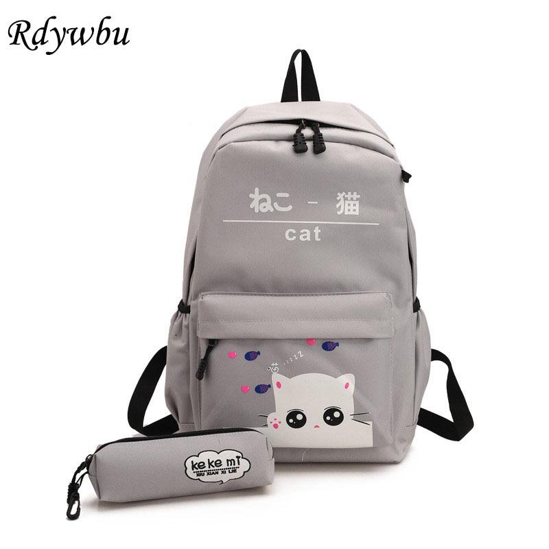 541c60523b Rdywbu Ribbon Bow Nylon Backpack Womens Cute Simple Tassels Travel Bag  Girls Large Letters School Bag ...