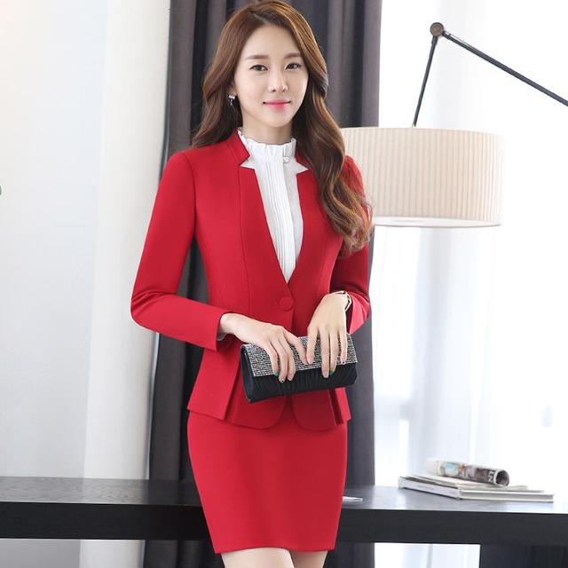 3 pc escritório magro marca negócio Ternos formais das mulheres conjuntos de algodão calças casaco terno de saia vestido vermelho senhora blazers roupas Uniformes 105