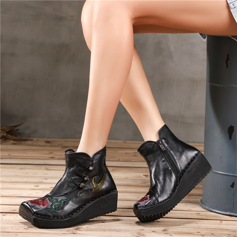 Embroidery Women Genuine Leather Ankle Boots 5 CM High Heels Wedge Shoes Winter Retro Martin Boots Handmade Women Leather Boots цены онлайн