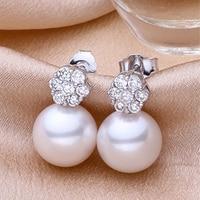 Women Classic Rhinestone Crystal 8mm Round Genuine Freshwater Pearl Stud Earrings For Bride Wedding Sterling Silver