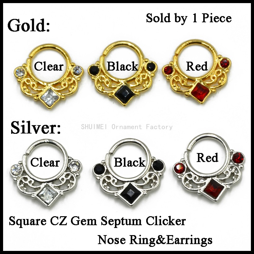 Lot of 1pcs Gold&Silver Color Square CZ Gem Septum Clicker Nose Ring Ear Tragus Cartilage Body Piercing Jewelry 16g