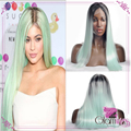 Top Ombre Mint Green Synthetic Lace Front Wig Glueless Straight Two Tone Dark Root Green Heat Resistant Fiber Hair for Women
