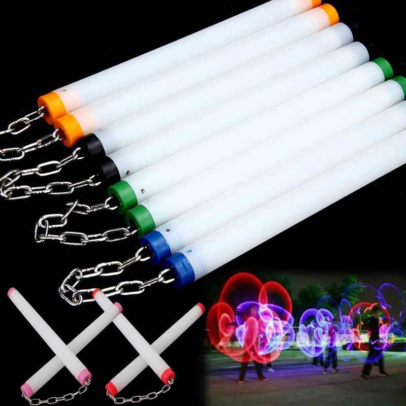 2018 New LED Light Nunchakus Glowing Fluorescent Performance Kongfu Nunchaku Sticks Light Up Toys @Z280