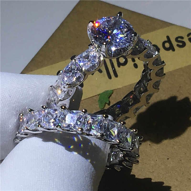 Choucong, Винтажное кольцо, набор, принцесса, огранка, AAAAA, циркон, Cz, 925 пробы, серебро, обручальное кольцо, кольца для мужчин и женщин