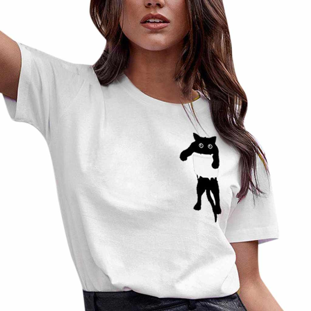 Women Cat Print T-shirt Loose Short Sleeve Blouse Casual Simple Pullover Casual solid color  Wild Tops roupas femininas