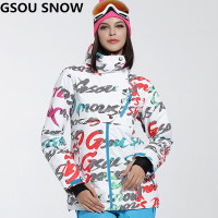 Free Shipping Gsou Snow Ski Jacket Women Warmth Letter Printing Ladies Snowboard Jacket Windproof Waterproof Female
