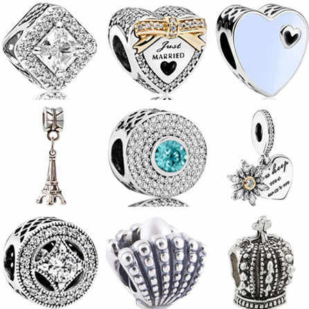 Lujoso corazón hueco árbol de Navidad corona Torre Eiffel cuentas de perlas simuladas ajuste Pandora dijes pulseras para mujer DIY