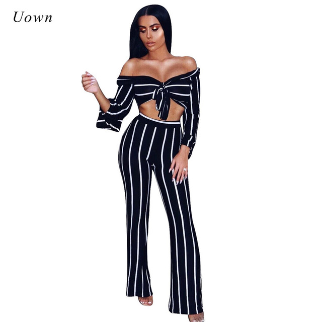 e6e1d326b0e Clubwear Striped Two Piece Set Women Sexy Slash Neck Crop Top Wide Leg  Pants Flare Sleeve Party Jumpsuits Autumn 2 Piece Outfits