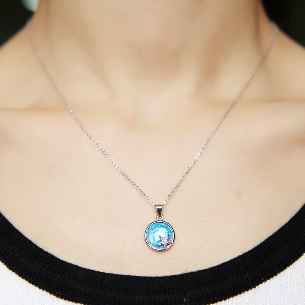 Fashion 925 Silver Jewelry Drop blue fire opal Charme Collier Pendentif Chaîne ~~ !