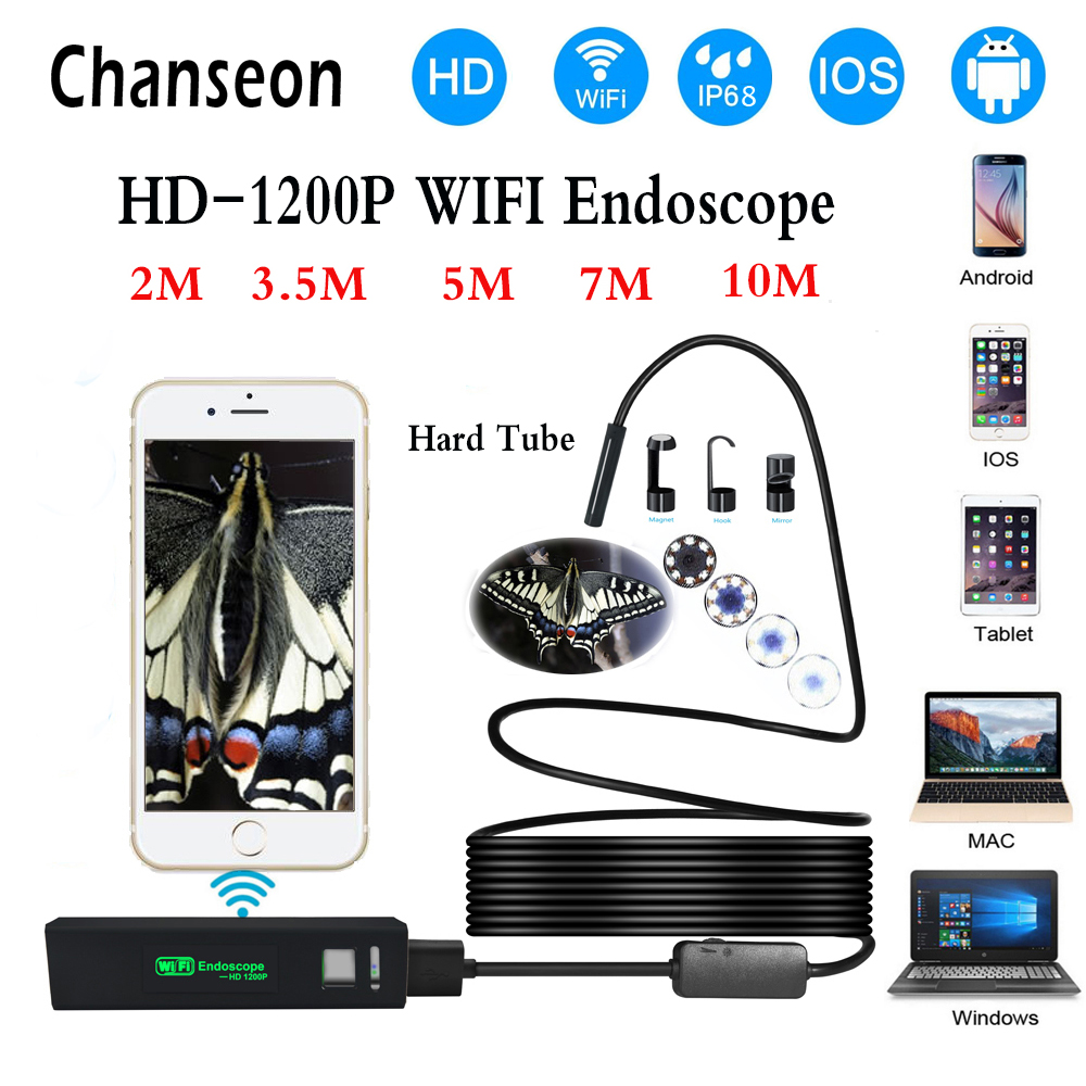 Chanseon Wifi Smart Phone Endoscope Camera 1200P HD 8mm Android IOS Borescope Waterproof Hard Tube Inspection Endoscope Camera