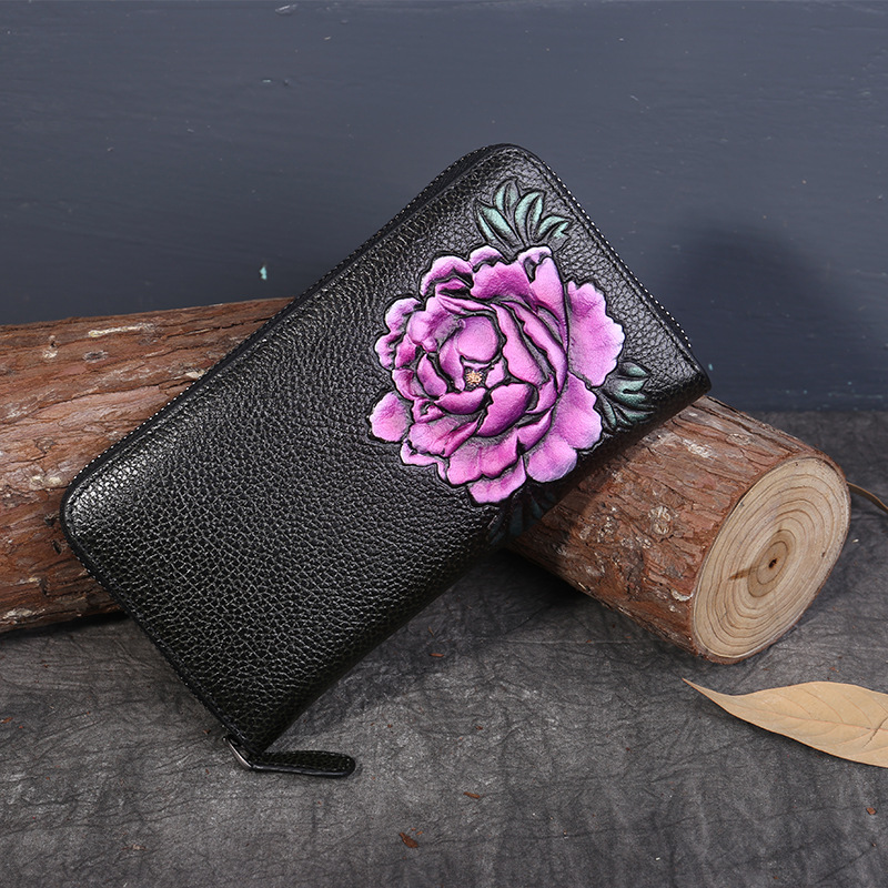 New women long wallets large capacity peony flower head layer cow leather wallet women genuine leather wallet fashion purse