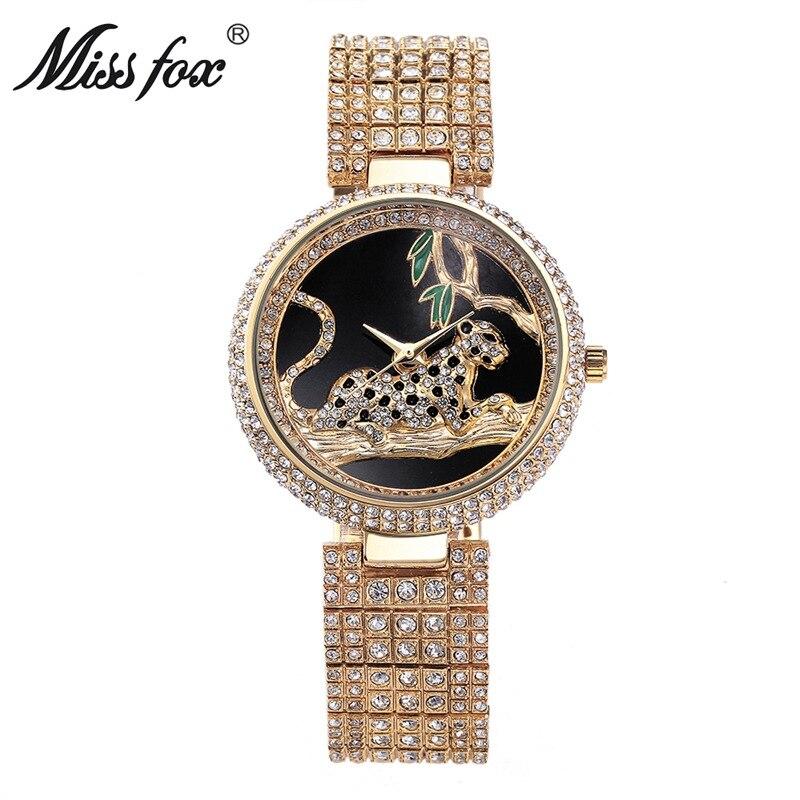 Creative Leopard Dial Luxury Golden Women Crystals