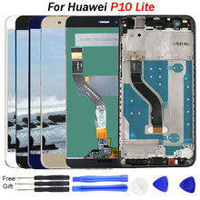 For Huawei P10 lite LCD Display touch screen Digitizer Assembly 5.2 inch LCD screen display with Frame P10 Lite Display LCD for elephone vowney lite touch screen sensor with lcd display panel assembly 100
