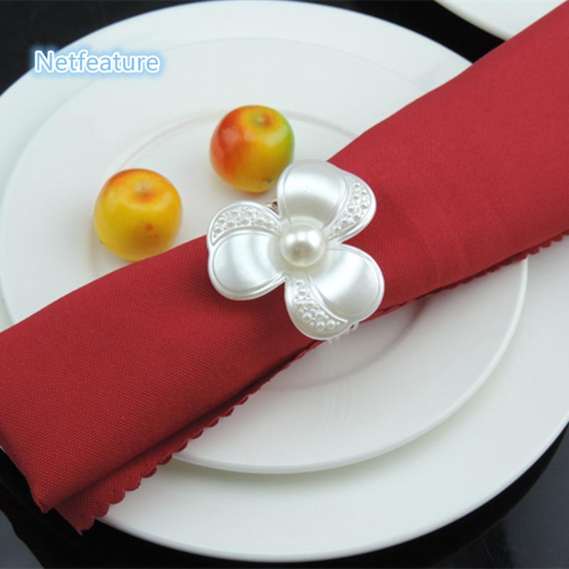 Free Shipping 12pcs/lot Camellia Flower Serviette Holder Napkin Rings For Hotel Wedding Banquet Restaurant Decors Table Decors