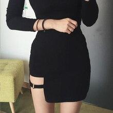 KLV Женская Летняя Сексуальная Асимметричная бандажная юбка Харадзюку с завышенной талией, женская черная Готическая мини облегающая короткая юбка, тонкая Клубная одежда