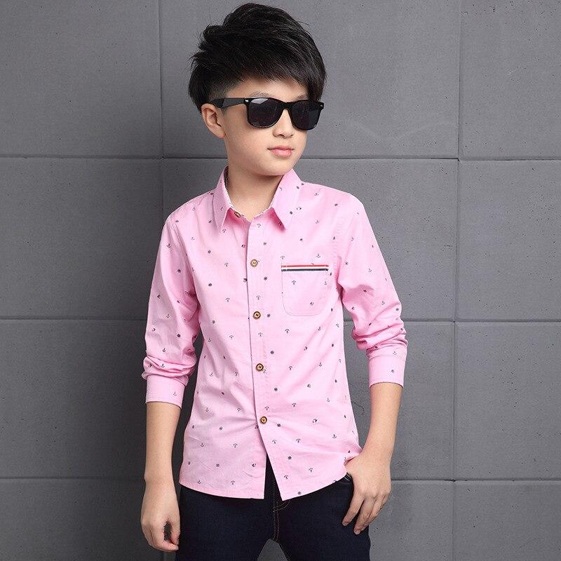 Boy Shirt Spring And Summer Models Pink Long Sleeved In Big Child Slim Korean