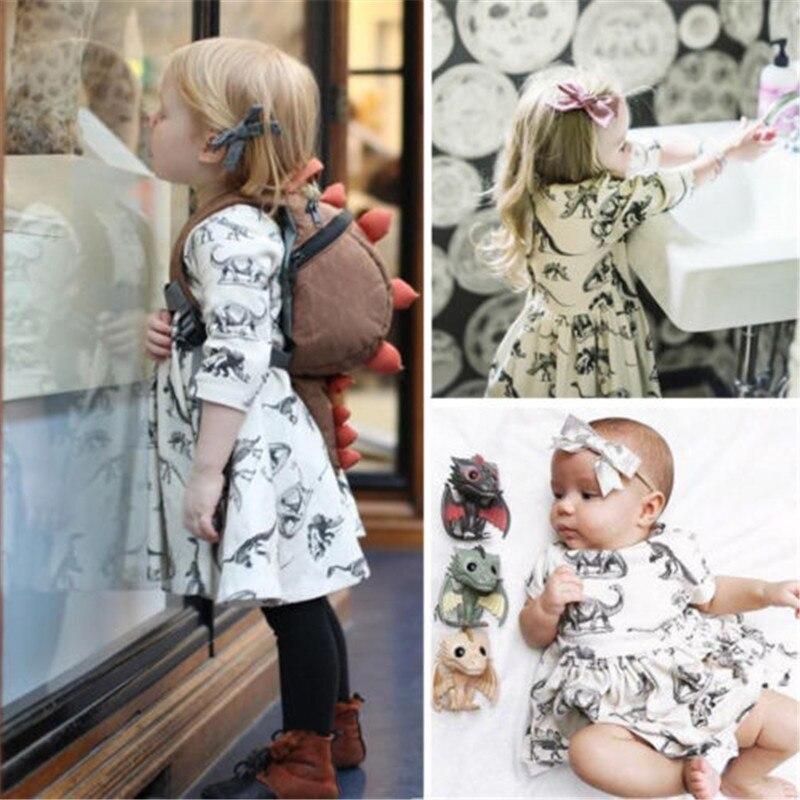 Crianças recém-nascidos do bebê menina dinossauro impressão tutu vestido da criança meninas verão manga curta roupas