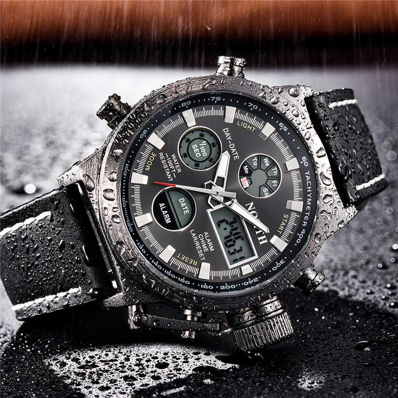 北腕時計メンズファッションメンズ腕時計トップブランドの高級クォーツ時計男性革デジタル防水スポーツ軍事腕時計