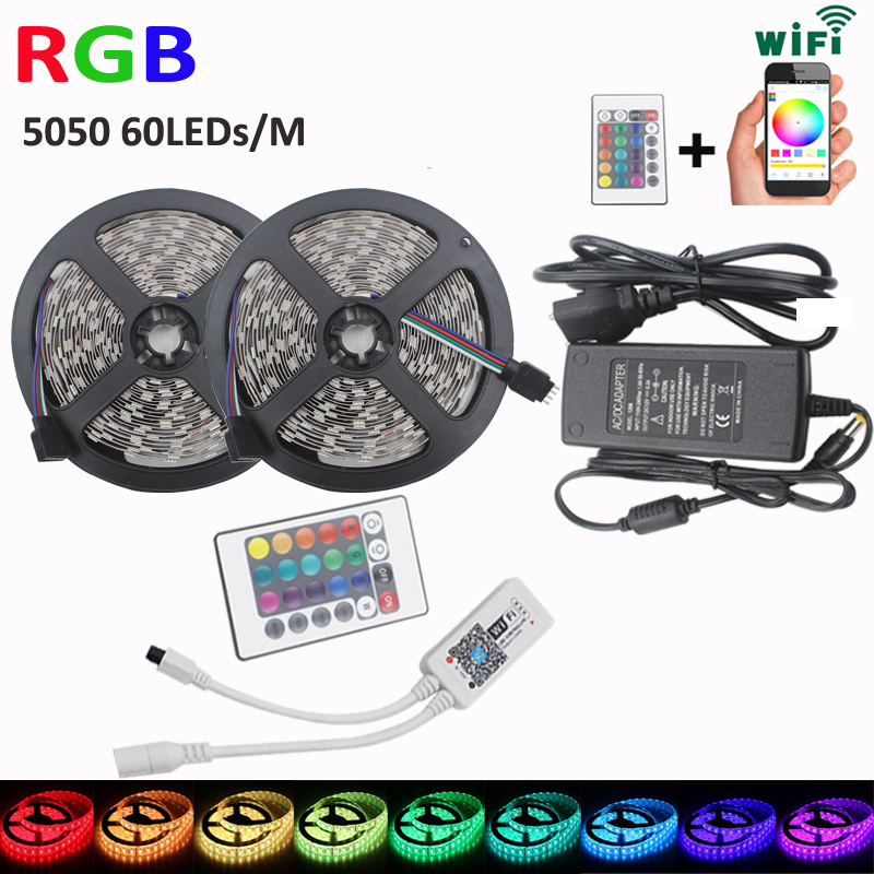 10m DC12V SMD 5050 RGB strip led Light led wifi smart controller support with Android IOS system Touchable+AC220V driver led smart controller 5m ws2811 led digital strip 30leds m with 30pcs ws2811 built in the 5050 smd rgb led chip
