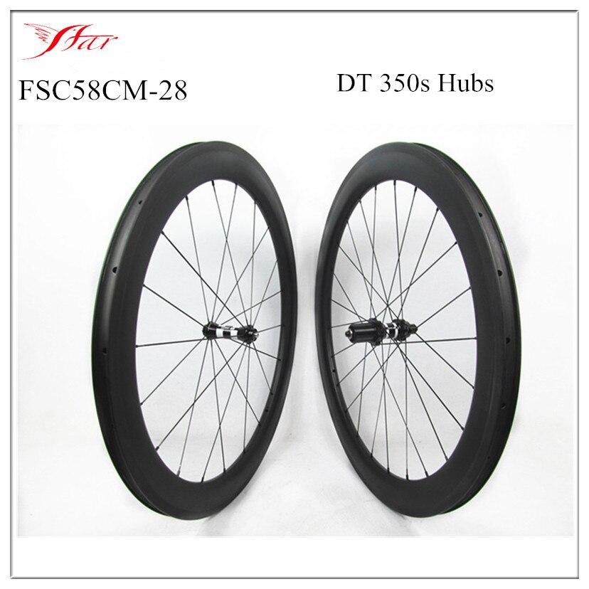 Широкий углерода дорожный колеса 700c китайский 38 мм / 45 мм / 58 мм глубиной 28 мм широкий углерода велосипедные колеса , с DT концентраторы и спицы Sapim