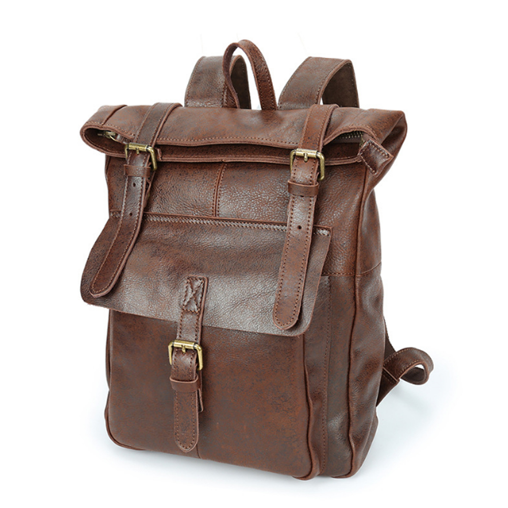 Hot Sale Fashion Woman Multi-function Genuine Leather Backpack Retro Brown/orange Cowhide Mans Travel Large Capacity 14 Inch Knapsack Backpacks