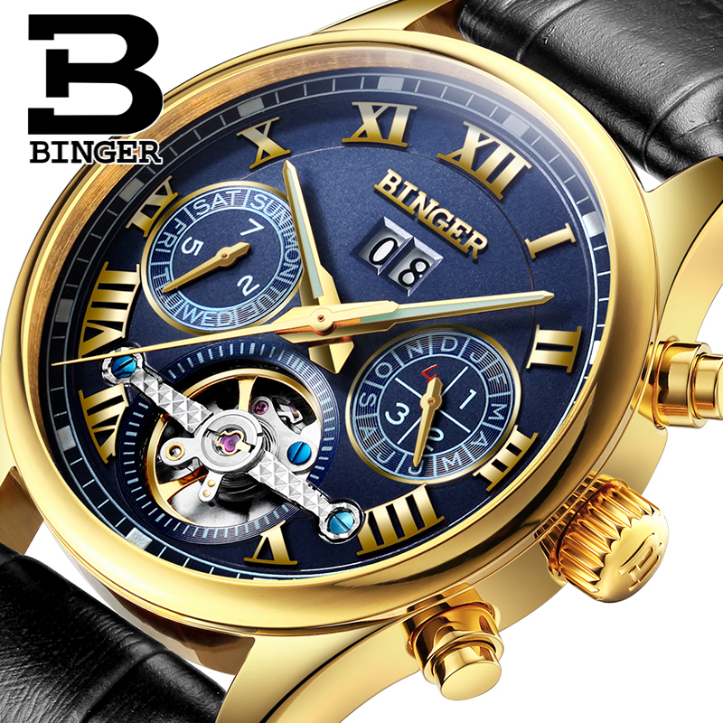 Switzerland BINGER men's watch luxury brand Tourbillon sapphire luminous multiple functions Mechanical Wristwatches B8602-12 jupiter бра jupiter laura 516 la k