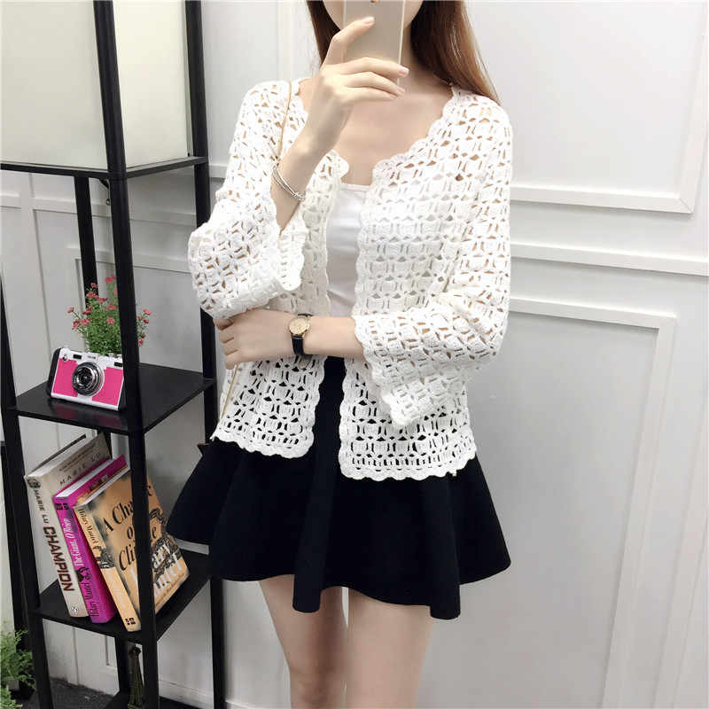 b11c1e44e1f3 ... 2019 Spring Summer Crochet White Lace Blouse Women Fashion Tops Sexy  Hollow Out Knitted Cardigan Chemise ...