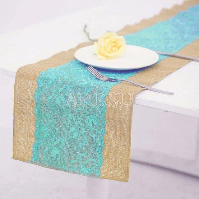 Incroyable Burlap Table Runner Aqua Blue Lace Trim No Fray Jute Hessian Vintage Rustic  Natural Wedding