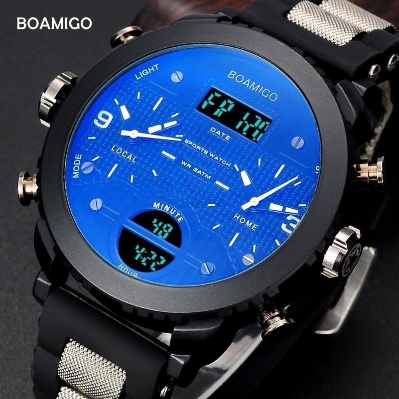 28ee062218b9 BOAMIGO 3 DE TIEMPO zona militar reloj de deporte de los hombres relojes  para hombres de marca famosa LED Digital hombre relojes reloj de cuarzo  reloj de ...