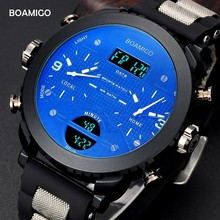 BOAMIGO 3 Time Zone Military Watch Men Sport Watches For Men Famous Brand LED Digital Watch Mens Watches Quartz Wristwatch Gift