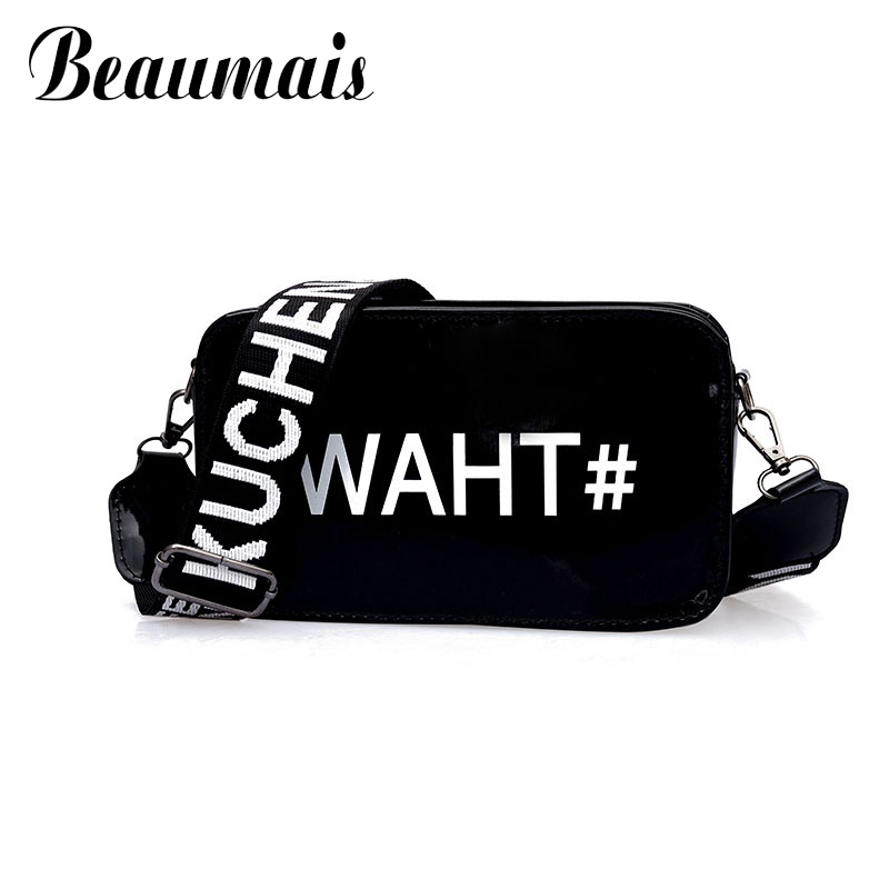 Beaumais Leather Small Messenger Bags For Girls Letter Fashion Mini Shoulder Bag Wide Strap Flap Womens Crossbody Bag WBS332