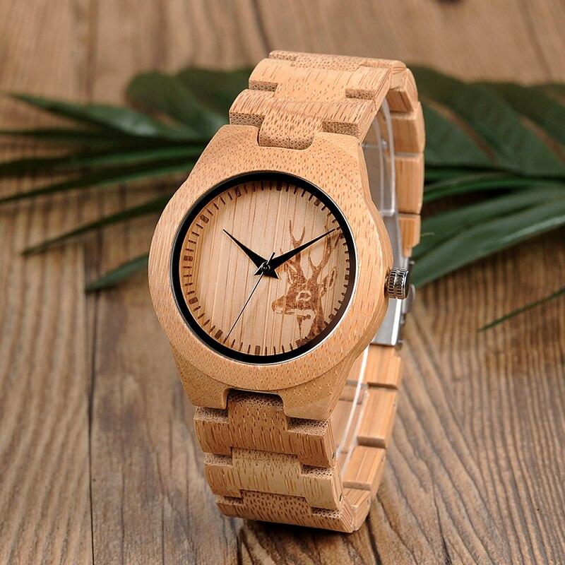 Saatler'ten Kadın Saatleri'de BOBO kuş orijinal bambu saat kadınlar için gravür Elk başkanı bambu bant kadın kol saati Drop Shipping B E04 title=